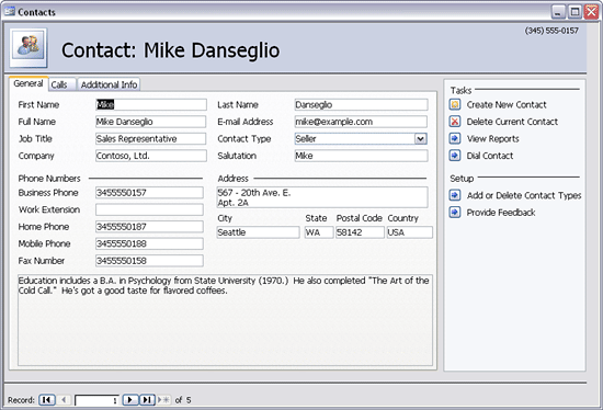 Download Sales contact management database