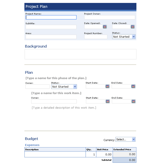Download project plan template for infopath 2003 or newer for Free infopath templates