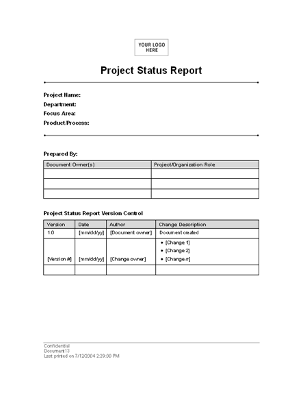 Project status report template for word 2003 or newer inside free download project status report templates pronofoot35fo Images