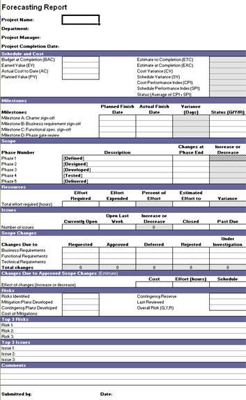 Forecasting Report Template For Excel 2003 Or Newer Inside Project