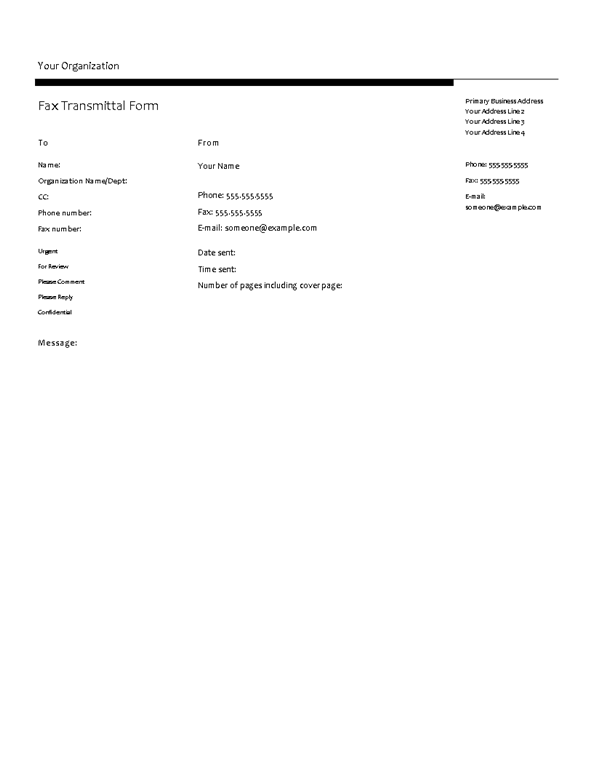 Fax Cover Sheet (profile Design)