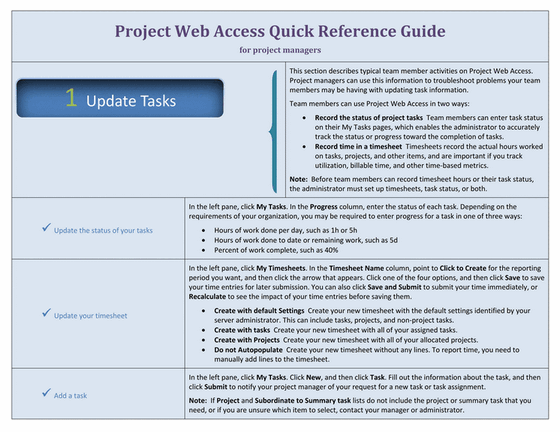 Project web access quick reference guide for managers for Project management manual template