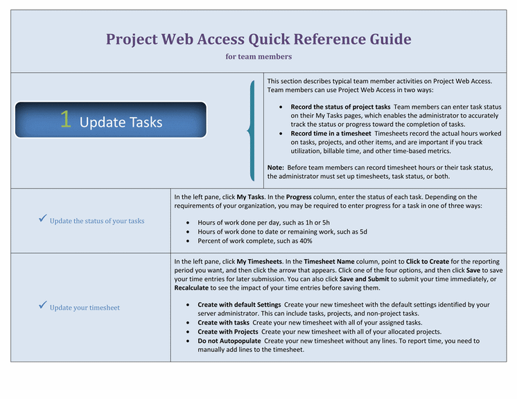 Project web access quick reference guide for team members for Project management manual template