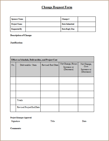 Awesome Free Download Change Request Form Templates