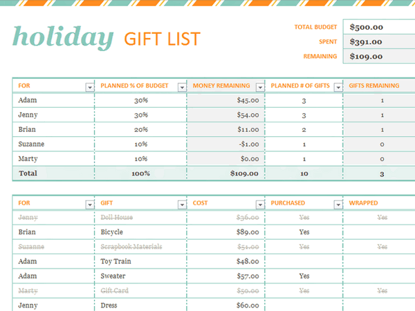 Download Holiday Gift List Free Certificate Template