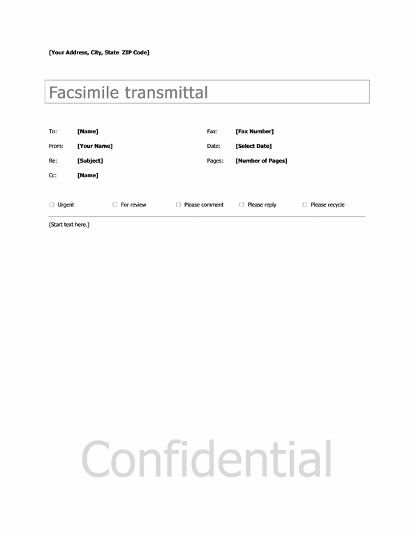 Basic Fax Sample Cover Sheet