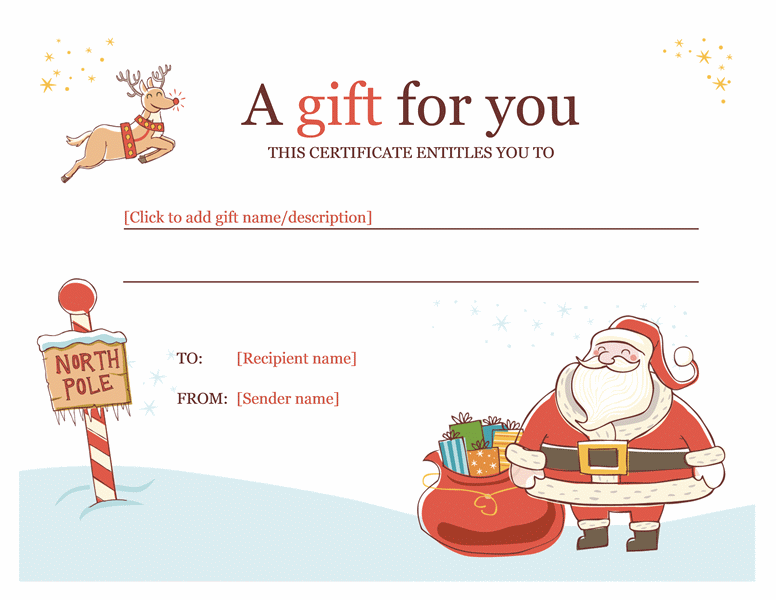 Christmas Gift Certificate Template Template For Word 2013 Or – Gift Certificate Template Word 2007