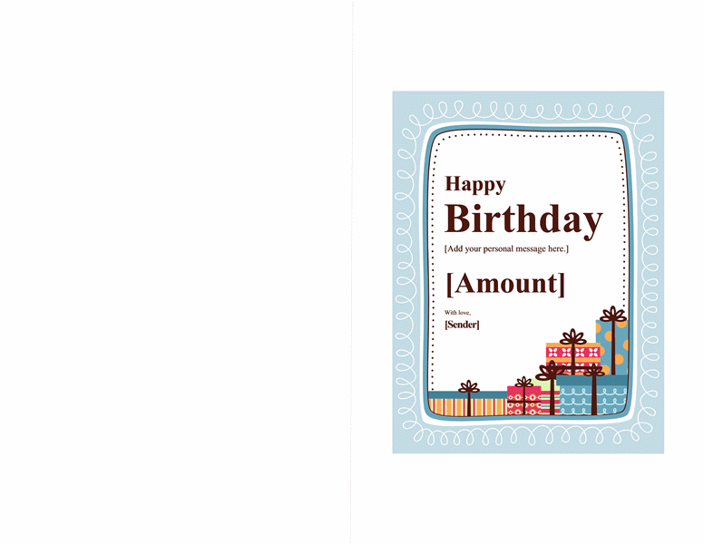 Birthday Gift Certificate Template Note Card