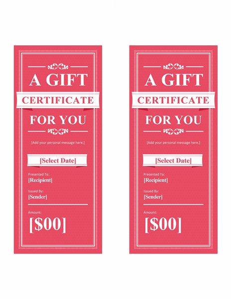 Red Gift Certificate Template