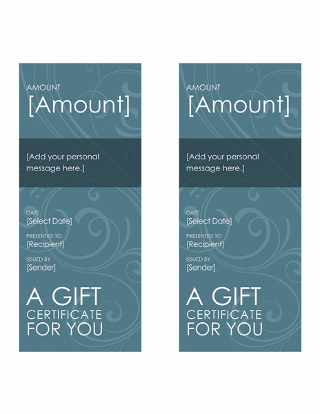 Download Blue Swirl Gift Certificate Template