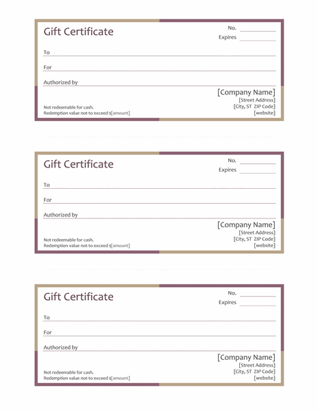Multi Colored Gift Certificate Template