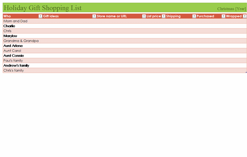 Shopping List Gift Certificate Template