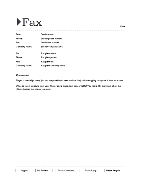 Fax Cover Sheet Editable Template For Word 2013 Or Newer Inside – Microsoft Office Fax Template