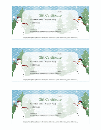 Download Holiday Snowman Gift Certificate Template