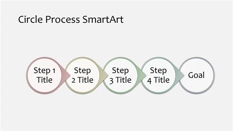 Download Circle Process Diagram SmartArt Slide (multicolor on off-white, widescreen)