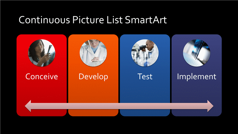 Continuous Picture List Diagram Smartart Slide (mulicolor On Black, Widescreen)