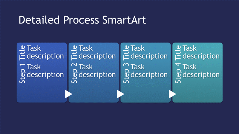Detailed Process Diagram Smartart Slide (blue Tones On Blue, Widescreen)