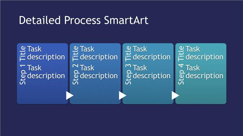 Detailed Process Diagram Smartart Slide (blue Tones On Blue, Widescreen)