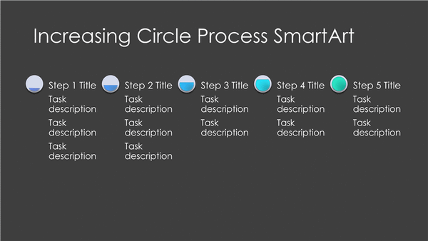 Increasing Circle Process Diagram Smartart Slide (gray And Blue On Black, Widescreen)