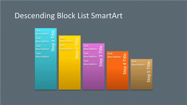 Descending Block List Diagram Smartart Slide (multicolor On Gray, Widescreen)