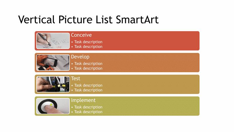 Download Vertical Picture List Diagram SmartArt Slide (multicolor on white, widescreen)