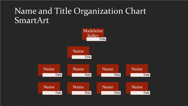 Business Organizational Chart With Name And Title (red On Black, Widescreen)