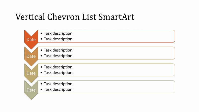 Download Vertical Chevron List Diagram SmartArt Slide (multicolor on white, widescreen)