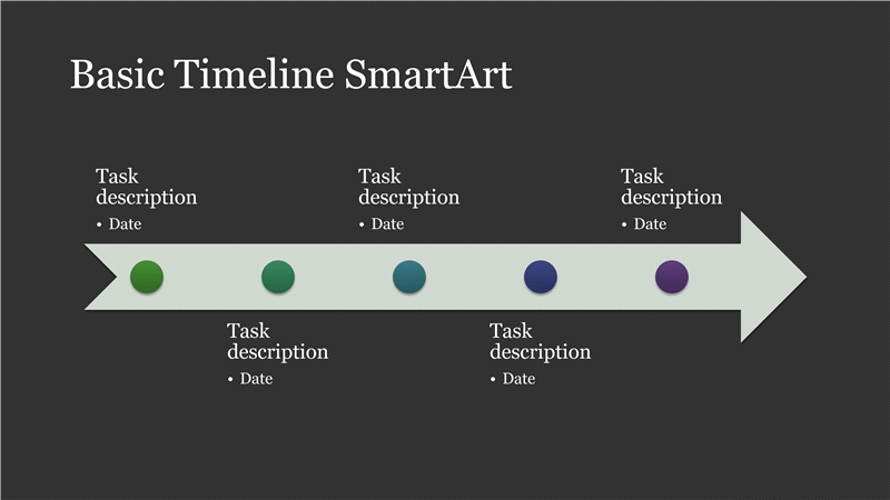 Business Timeline Smartart Diagram Slide (white On Dark Gray, Widescreen)