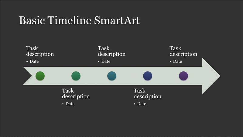 business timeline smartart diagram slide white on dark gray
