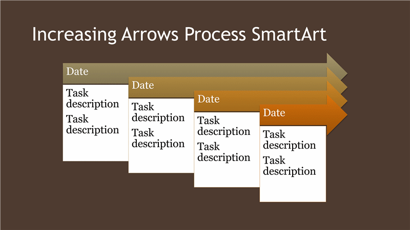 download increasing arrows process diagram smartart slide brown