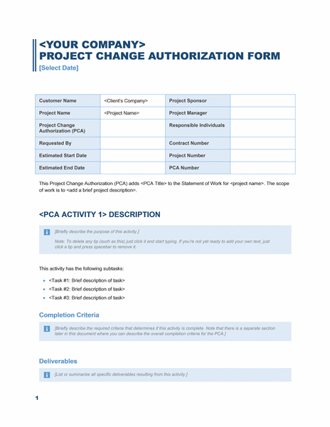 Download Project change authorization form (Business Blue design)