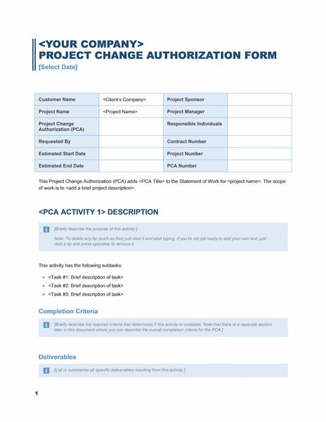 Project Change Authorization Form business Blue Design Template – Change Management Form Template