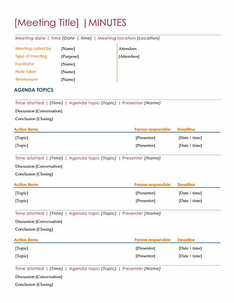 minute of meeting template doc - download meeting minutes template for word 2013 inside