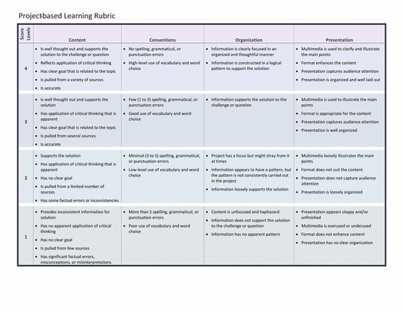 Download Project-based learning rubric
