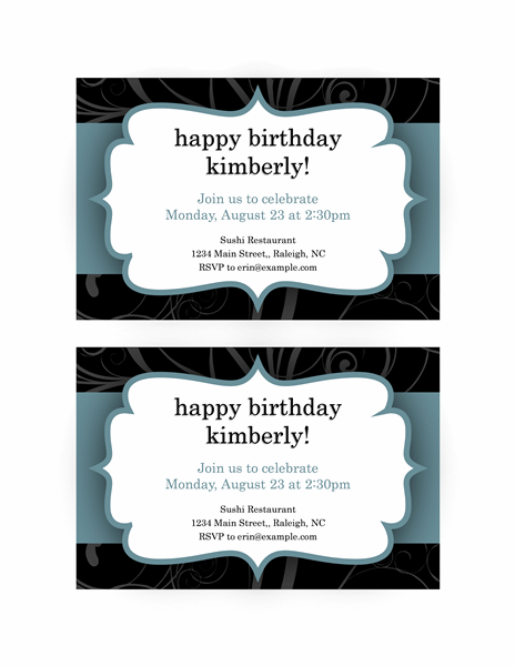 Party Invitation (blue Ribbon Design)
