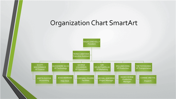 Download Organizational chart (gray, green, widescreen)