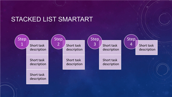 Stacked List Process Diagram (purple, Widescreen)