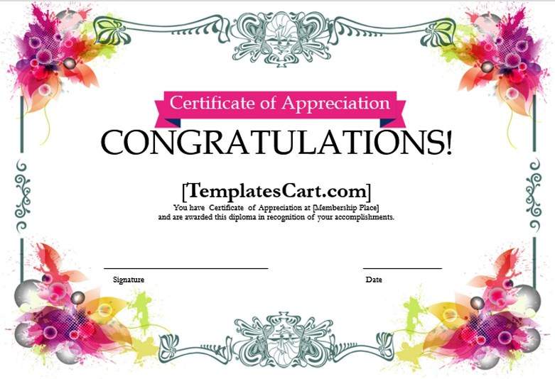 Download Certificate of Appreciation Templates Design in MS Word