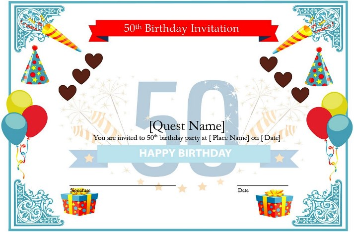 free download lovely 50th birthday gift ideas for wife templates - Certificate Template Word 2016