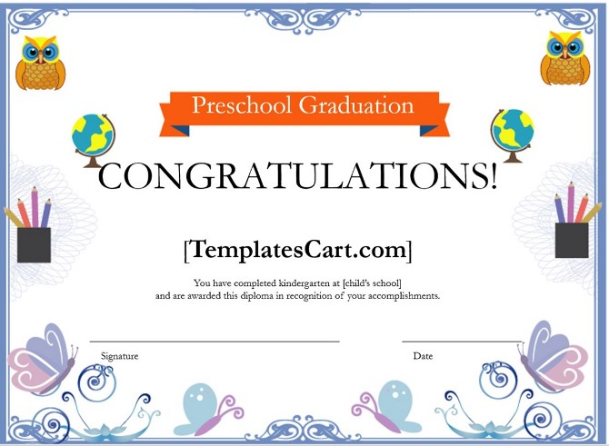 Preschool Graduation Certificate Borders Template