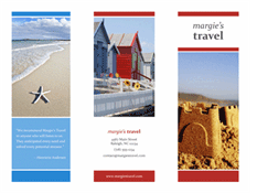 Free Tri-fold Brochure For Travel In Red And Blue Color Theme