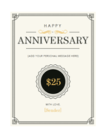 Anniversary Gift Certificate Template Note Card