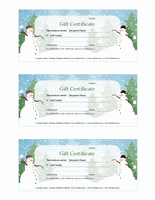 Holiday Snowman Gift Certificate Template