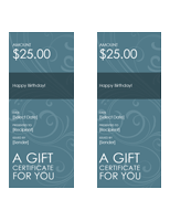 Blue Swirl Gift Certificate Template
