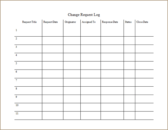 Change Request Log Template For Word 2007 Or Newer Inside