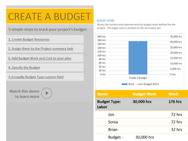 how to create a budget in microsoft project 2013