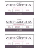 Gift Certificate Templates 3 Blocks