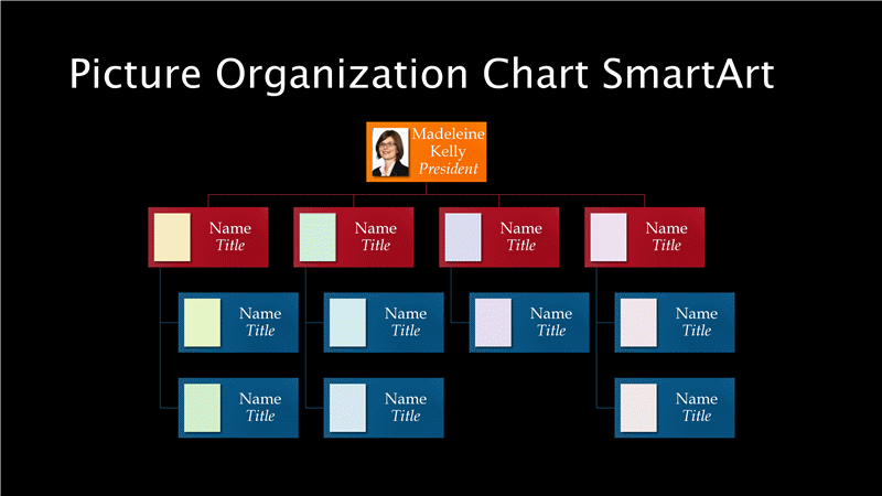 Sample Chart Templates project management organization chart template : Organization Chart Slide (multicolor On Black), Widescreen Template ...