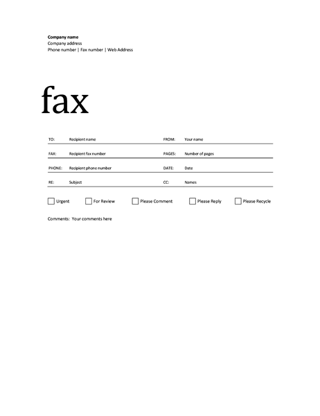 Professional Fax Cover Sheet Design
