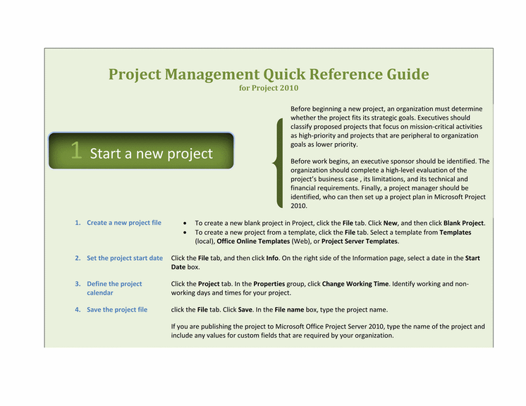 Project 2010 quick reference guide template for word 2010 for Project management manual template